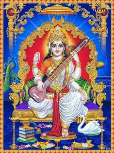 Hindu Deity Goddess Saraswati Print In India Saraswati Goddess, Divine Goddess, Indian Goddess, Goddess Lakshmi, Shiva Shakti, Lord Shiva Hd Wallpaper, Maa Wallpaper, Lakshmi Images, Cute Krishna