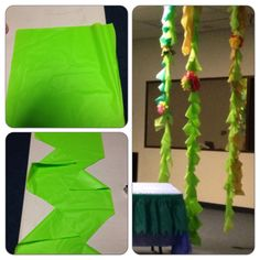 Used plastic tablecloths to make vines for weird animals vbs. 1st cut long strips in varying shades, (use the creases, you get 4 per tablecloth). I stacked 4-6 strips, then cut every 6inches down. Cut a curve toward the middle. Repeat down the other side. Stagger the cuts so they are not directly across from each other. I tape 2-3 strips together to hang and tied on paper flowers.