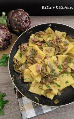 carbonara di carciofi Veggie Recipes, Pasta Recipes, Diet Recipes, Cooking Recipes, Healthy Recipes, Rice Dishes, Pasta Dishes, Gnocchi Pasta, Good Food