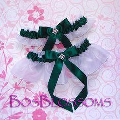 Hunter Green Satin Bow Organza Bridal Wedding Garter Set Keepsake Toss Garters
