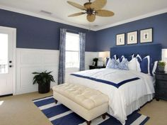 Bedroom: Pretty Bedroom Ideas With Superb Wall And Accessories Navy Blue Wall Color With White Door And Stylish Ceiling Fan For Pretty Bedroom Ideas Using Beach Inspired Decor