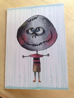 Greeting card  the zeropumpkin character  big head  by zeropumpkin, $6.90