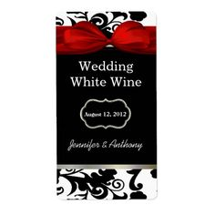 Black and White Damask Wedding Wine Labels