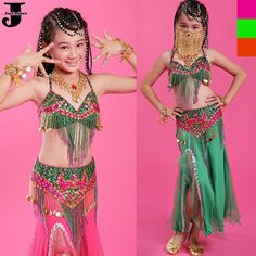US $38.00 2015 New Arrival Girls Belly Dance Costume Long Mermaid Skirt Children Belly Dancing Costume Kids Indian Dance Costumes