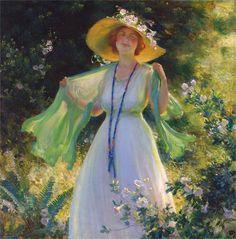 """""""Path of Flowers"""" (1919) by Charles Courtney Curran (1861-1942)."""