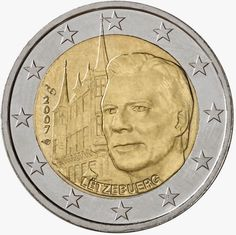 2 Euro Commemorative Coins: 2 euro coins Luxembourg 2007, Grand Ducal Palace. Commemorative 2 euro coins from Luxembourg