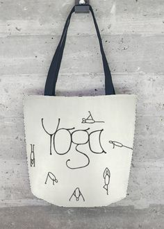 "Tote Bag 'Yoga"" This gorgeous all-over printed tote bag - made in California, United States - features sturdy, weather-resistant fabric and dual 100% natural cotton bull denim shoulder straps. Make a beautiful, artful statement with this stand out, all-season VIDA Tote Bag - whether on an afternoon stroll around town or a weekend out of town."