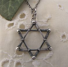 Necklace Pendant - Star of David of Sterling Chainmaille Tutorials  Silver by GravelRoadJewelry