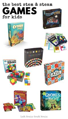 Here are the very best STEAM and STEM games your kids will love! Check out this list of exciting STEM games for kids. Games are a fantastic way to help kids learn math and science while having fun! Space Activities For Kids, Board Games For Kids, Family Board Games, Best Kids Games, Educational Board Games, Learning Activities, Kids Learning, Outdoor Learning, Stem Activities