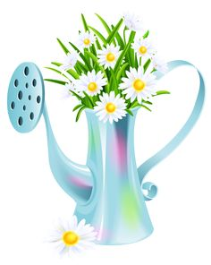 Water Can with Daisies PNG Clipart Picture