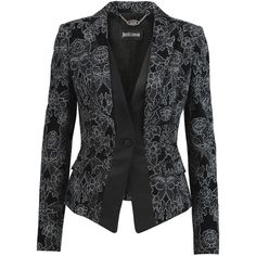 Just Cavalli Satin-trimmed printed velvet blazer ($225) ❤ liked on Polyvore featuring outerwear, jackets, blazers, blazer, black, slim fit blazer, slim jacket, slim blazer, velvet jacket and just cavalli