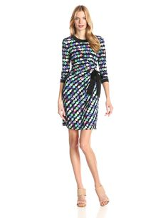 Printed Jersey Side-Tie Dress by Taylor Dresses