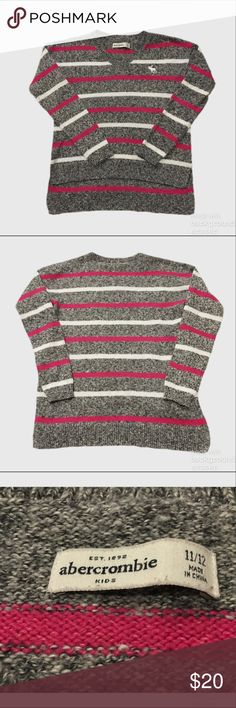 Abercrombie Kids Girls' Striped Sweater Worn once. Marled gray, pink and white striped cotton blend sweater with high low hem. Abercombie Kids Shirts & Tops Sweaters