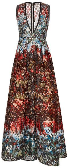 Elie Saab Printed Macrame Lace V-Neck Gown All Over Print