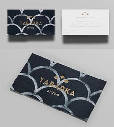 patterned gold business card