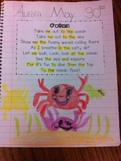 """From the website: """"Here is a fun ocean song to the tune of take me out to the ball game. I also included a student copy for poetry journals."""""""