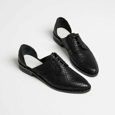 Black fish printed d'orsay oxford flats from Freda Salvador made with calf leather