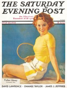 The Saturday Evening Post, 20th July, 1935.  Original magazine cover from The Saturday Evening Post, 20th July, 1935 #tennis