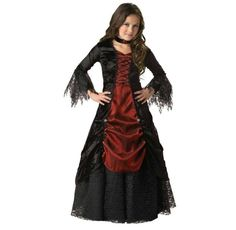 Dressed in a lace-trimmed satin and panne gown with petticoat, your dark princess will look as if she glided right out of a spooky Victorian tale full of vampires and moonlit adventures. - Dress: 95%