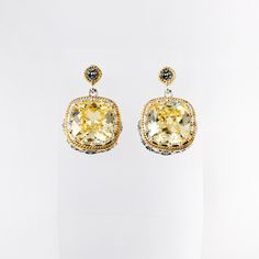 $117.00    Earring Set With Canary Cubic Zirconia & Marcasite (Gold Plated)