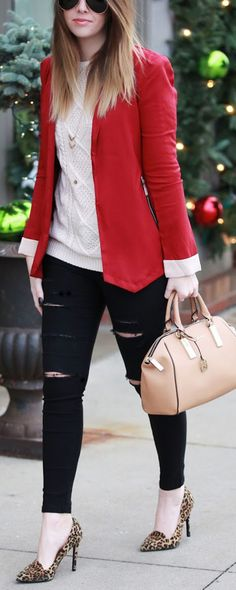 Daily New Fashion : Office Ready - Aprioct Sweater + wine red blazer + black skinnies.