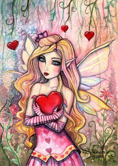 ACEO Limited Edition Print - Little Valentine Fairy - Illustration Fantasy Art by Molly Harrison Valentines Art, Little Valentine, Fairy Pictures, Unicorns And Mermaids, Beautiful Fairies, Fairy Art, Heart Art, Art Portfolio, Whimsical Art
