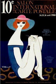 By Bernard Villemot, c 1980, 10th International Exhibition of Postcards, Paris.
