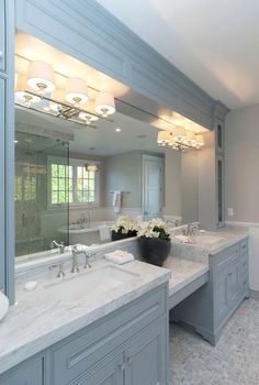 Bathroom decor for your master bathroom remodel. Learn bathroom organization, master bathroom decor ideas, bathroom tile ideas, bathroom paint colors, and much more. Diy Bathroom, Bathroom Layout, Bathroom Interior Design, Home Interior, Bathroom Designs, Bathroom Cabinets, Bathroom Vanities, Bathroom Fixtures, Concrete Bathroom