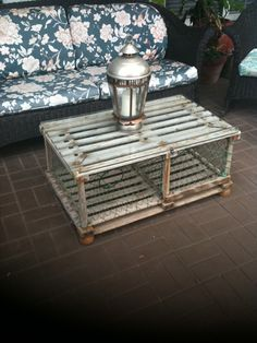 Old Crab trap made into an outdoor coffee table (Dad made this one)! Love it!