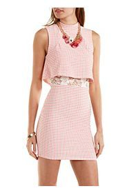 Lace-Lined Layered Gingham-Checked Dress