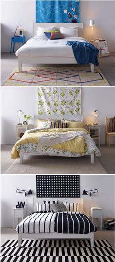 One bed - three looks! You can keep the bones of your bedroom the same - your bed and major storage pieces, and completely transform the look of your the space with a switch of bedding, lighting and accessories.