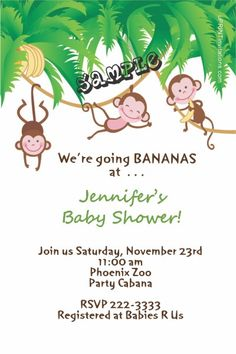 One, two, or three monkey baby shower invitations. Design online, download and print immediately!