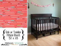 Coral Metallic Arrows Infant or Toddler Fitted Sheet - 52 x 28 - Ivory Mint Purple Grey - Native Tribal Aztec - Crib or Toddler Bed Sheet