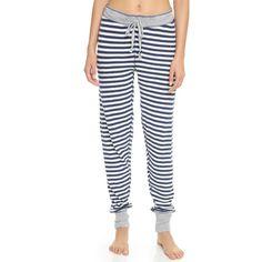 PJ LUXE PJ Salvage Striped PJ Pant (320 VEF) ❤ liked on Polyvore featuring intimates, sleepwear, pajamas, navy, striped pyjamas, pj pants, thermal sleepwear, striped pjs and striped pajamas
