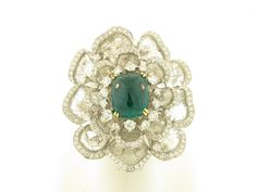 Entry 507  Ashok Sancheti  Pioneer Gems  New York, NY  18K white gold ring featuring a 7.89 ct. sugarloaf Emerald accented with Diamonds (14.08 ctw.).