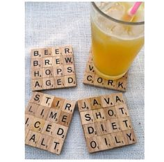 Glue your favorite #scrabble letters together to make #coasters. #DIY