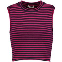 A.L.C. Dan cropped striped knitted top ($165) ❤ liked on Polyvore featuring tops, magenta, a.l.c top, stripe top, striped top, magenta top and stripe crop top
