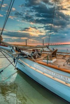 Sunset by the sea on a teak-decked sail-boat - one of the many fine things in life. The Spirit of South Carolina, homeport Charleston, South Carolina Yacht Design, Tall Ships, Trinidad, Sailing Ships, Sailing Boat, Sailing Yachts, South Carolina, Places To Go, Coastal