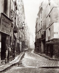 Image: Charles Marville - Rue Aumaire, from the Rue Volta, Paris, 1858-78 (b/w photo)