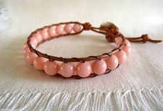 Pink Coral Jade Bracelet  Boho Spring Jewelry by theknottedgem