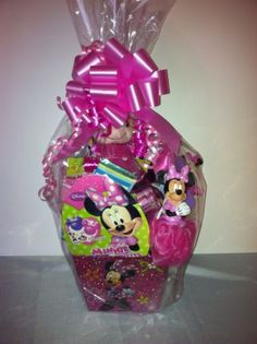 Custom Disney MINNIE MOUSE EASTER BASKET Ty Ballz arranged filled Candy Toys NEW