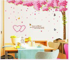 Pas cher Grand Salon TV Toile de Fond Arbre Stickers Muraux Romantique Salle De…