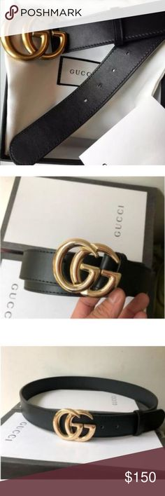 GUCCI BELT BRAND NEW GUCCI BELT INSPIRED REAL LEATHER GOLD AND BLACK  SIZES: 95 100 105 110 115 120 125 CM PLEASE SEE SIZE CHART FOR ADDITIONAL INFO  THIS WILL GET FLAGGED AND ILL PROLLY GET SHUT DOWN LIKE ALWAYS SO PLEASE FOLLOW MY INSTA- IG GRAM PAGE NUNU_BOUTIQ FOR ALOTTT MORE INSPIRED AFFORDABLE HIGH QUALITY ITEMS! nunu_boutiq@yahoo.com is my email also Gucci Accessories Belts
