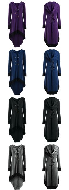 Hooded Lace-up Plus Size High Low Coat