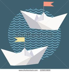 Origami paper ship with flags on waves - stock vector