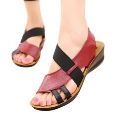 b21dc947c Summer Women Sandals Leather Ladies Shoes Elastic band Mid Wedges Sandals  Female Slippers Casual Comfortable sandalia