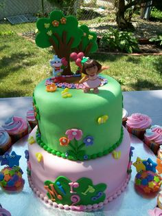 Dora The Explorer My not-as-good version of a cake that I saw on the internet. Covered in marshmallow fondant. Wilton fondant was used for...