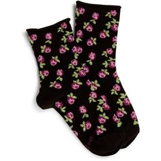 Vera Bradley Roses Socks (£7.59) ❤ liked on Polyvore featuring intimates, hosiery, socks, black, crew socks, patterned socks, crew cut socks, crew length socks and patterned hosiery