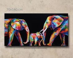 70 x 140 cm,Colorful Elephant Painting wall decor ABOUT PRODUCT **this item express shipping time takes days** Colorful abstract elephant acrylic on canvas wall decor by artist Sumaree Elephant Wall Decor, Elephant Canvas, Colorful Elephant, Elephant Love, Afrique Art, Canvas Wall Decor, Acrylic Painting Canvas, Animal Paintings, Etsy