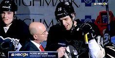 Beau Bennett photobombing yet another Pierre McGuire interview...
